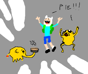 Elephant gives Finn, and Jake pie.