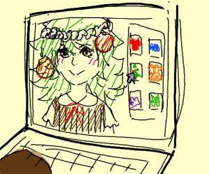 Pedbear decorates animegirl like ChristmasTree