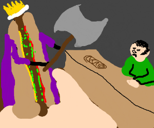 Belethor being attack by hotdog king with axe
