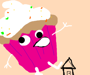 giant derpy cupcake attacks a house