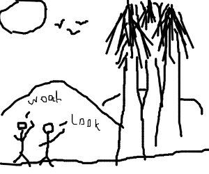 stick people look at extremely tall trees
