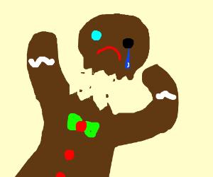 gingerbread man with one blue eye kills himsel