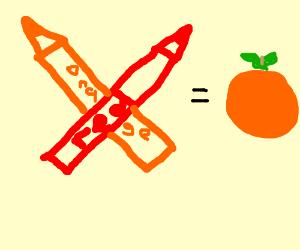 Red & orange crayon cross swords, make orange