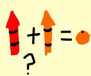 Red crayon + orange crayon = Orange fruit?