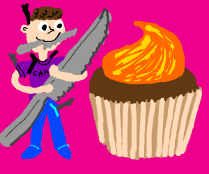 I'm armed to the teeth to slay a giant cupcake