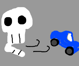 skull blows car over