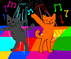 Cats dance at a disco party.