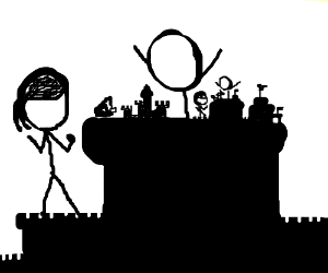 xkcd characters build a sandcastle