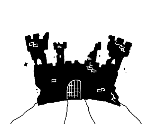 An ominous, partly destroyed castle.