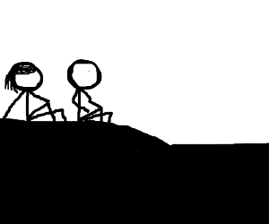 silouette of a couple sit atop a hill.