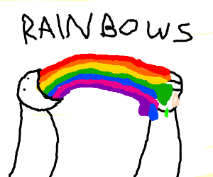 Guy pukes rainbow