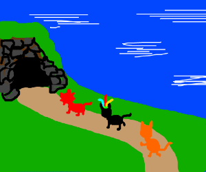 Yntec leads datgirl and AMS cat into a cave