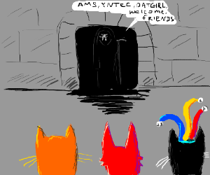 Black jester Cat, Orange Cat, Red Cat