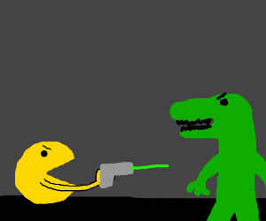 Pacman shoots standin alligator with lazer gun