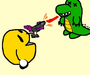 Pac Man shooting laser at Dino
