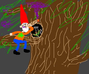 Elf smoking weed in a tree