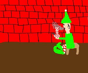 Elf smoking a bong