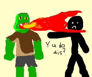 Orc betrays shadowman; it breathes fire