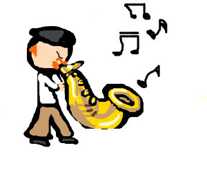 Jamie Hyneman playing the saxophone