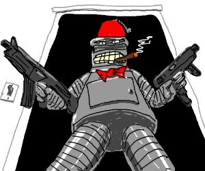 Bender wears a fez and bowtie