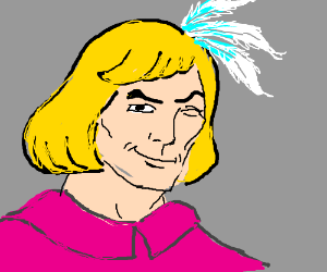 He-Man wears feathers in hair and pink shirt.