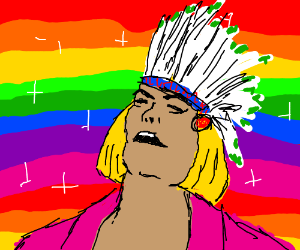 Disco He-man in Indian drag