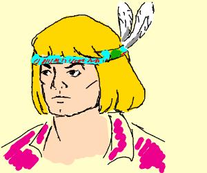 Prince Adam wearing a chief's headdress