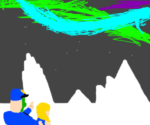 Ad & Snufkin, awed by northern lights.