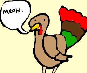 """A turkey goes """"Meow."""""""
