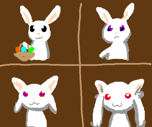 Easter Bunny becomes Kyuubey in 4 panels.