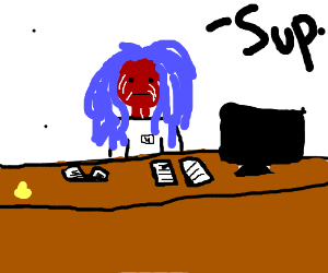Blue haired receptionist with no skin