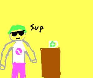 Oddly colored man at desk saying sup.