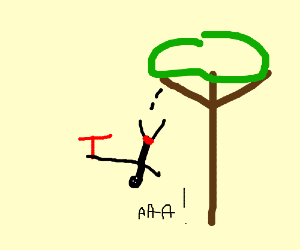 Man Falling Out of Tree with the letter T.