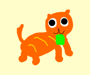 Garfield with a green polygon on his chin