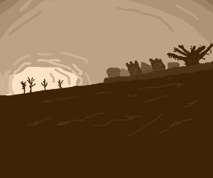 Sunrise on a stark landscape