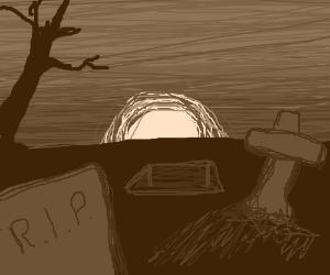 dramatic sunset on graveyard