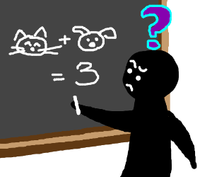 Man trying to figure out equation cat + dog=3