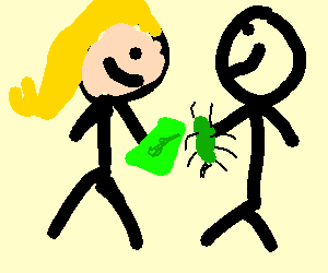 White Girl buying a green beetle