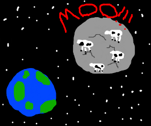 A herd of cows on the moon