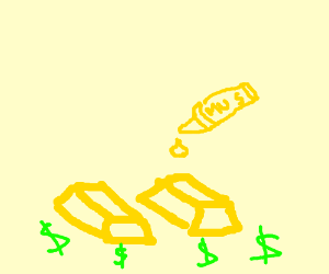 Gold bars with a drop of mustard on top.