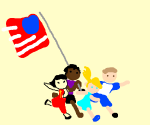 Different races of kids run with American Flag