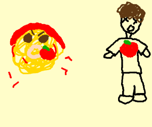 spaghetti shooting apples at a guy