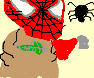 Spider man is being eaten by Shelob!
