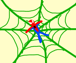Spiderman trapped in a green web