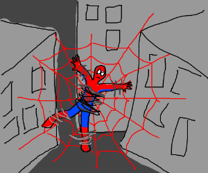 spider man caught in laser net