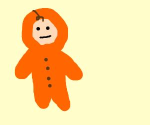 Big child with big hair wears an orange onsie