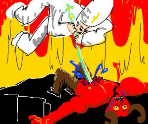 Pope Vs Satan! Finish him Pope!