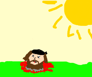 Bearded guy has been beheaded on a sunny day