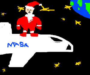 Santa on a spaceship