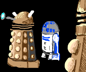 R2D2 tries to blend in with the Daleks